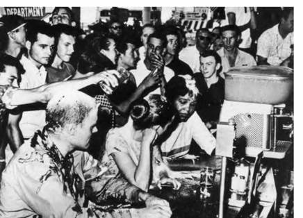 Ann Moody at lunch counter sit in