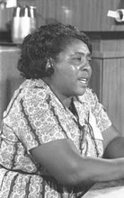 "Fannie Lou Hamer's famous slogan ""I'm sick and tired of being sick and tired"""