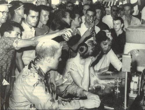 1963 Jackson, Mississipp Woolworth sit in. Joan Trumpauer is seated in the center.