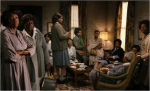 "All the ""blacker the better"" maids in one room, as the film attempts to duplicate Stockett's words with heavy handed film shots"