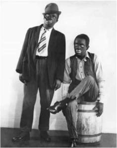 Promo picture of Amos and Andy radio show. The writers, who were the creators  and performers on the show are in blackface.