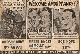 Advertisement for radio show of Amos 'n Andy and Bob Hope