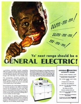 Old GE ad with the fried chicken and pickaninny stereotype
