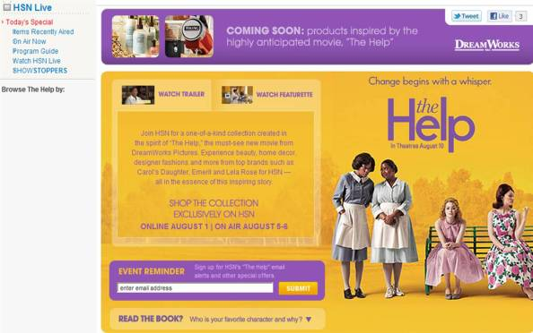 HSN product tie in for The Help. Emeril's pots and pans were on sale, but thankfully no maids uniforms were part of this misguided promo for the film.