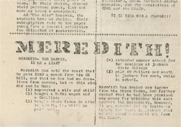 Feb 1962 Rebel Underground student paper insults James Meredith