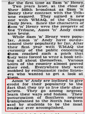 The Pittsburgh Press Jul 28,1929 article on Amos 'n Andy
