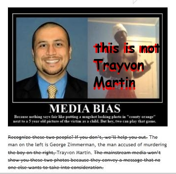 Twitchy media issues apology to Martin family for this erroneous photo. They'd initially claimed it was Trayvon. Red and black wording is mine