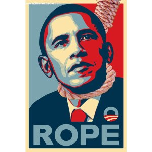 Altered Obama poster. More about this image can be found here: http://jimcrowmuseum.blogspot.com/2012/07/does-image-of-obama-with-rope-around.html