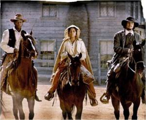 Sidney Poitier, Ruby Dee and Harry Belafonte in Buck and the Preacher, a western featuring black characters