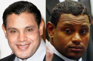Sammy Sosa now and back then.His hair has been straighter, skin has been chemically alterered and he's wearing contacts to make his eyes appear lighter in color.