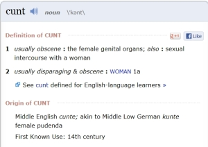 "Merridian Dictionary definition of the word ""cunt"""
