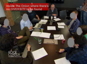 Harry Smith is with the Onion Editorial crew as they discuss content prior to the Oscar Broadcast. This was either already shown or will be shown on Rock Center.