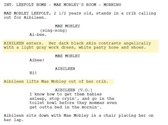 Scenes from Dreamsworks script of The Help