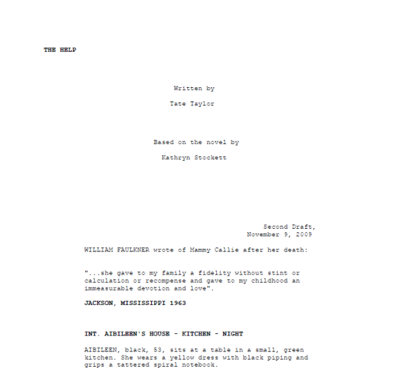 Second draft of The Help, dated November 9, 2009