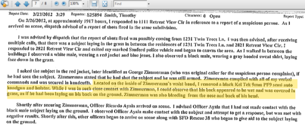 Initial police report describes location on Zimmerman's gun holster