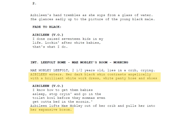Early script of The Help describes Aibileen, hitting the trope of the black Mammy to a T.