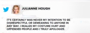 Julianne Hough tweets an apology