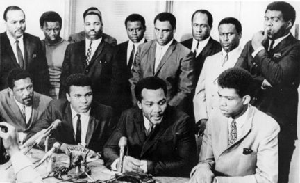 In 1967, young black athletes show solidarity behind Muhammad Ali