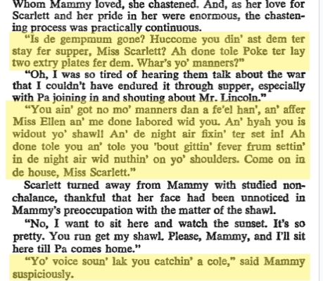 Mammy's book dialogue from the novel Gone With The Wind