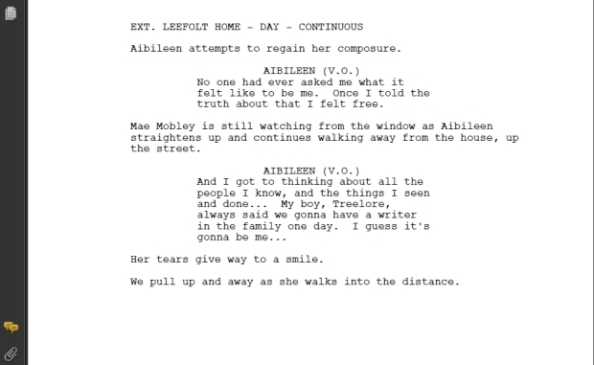 Last scene per the screenplay of the Help