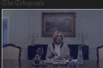 Scene of rich woman at her dinner table