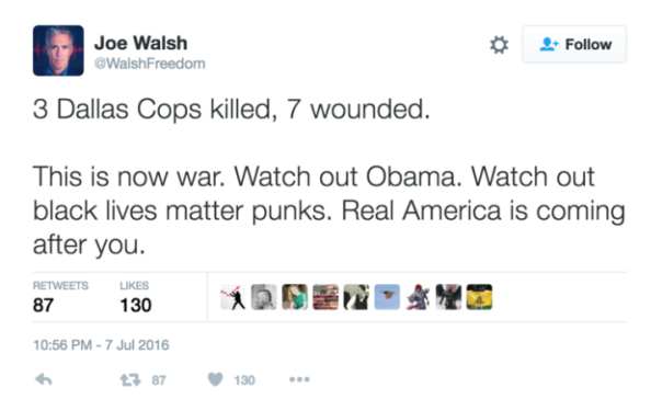 Joe Walsh tweet threatening President Obama and Blk Lives Matter organization