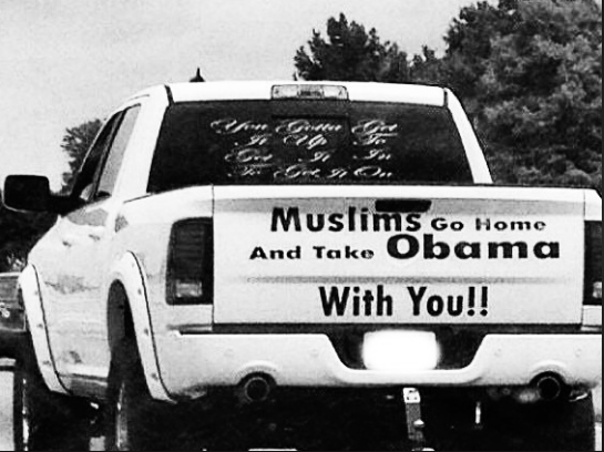 Muslim Go Home on truck