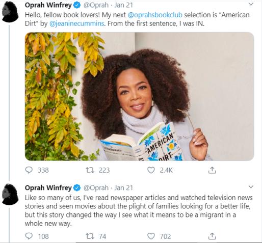 Oprah endorses American Dirt