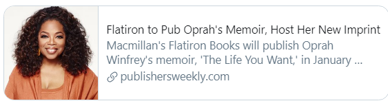 PW announcement about Oprah and Flatiron